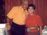 Evil Knieval visits with Lori Wesbrooks Stone at the Wesbrooks booth at the 1993 NTDRA Tire Show in Orlando.