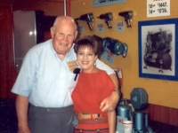 Jack Youncy of Tire Supply Company in Kansas City with Lori Wesbrooks Stone at 1993 NTDRA Tire Show in Orlando.